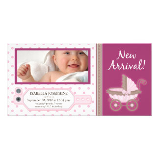Hospital ID Tag Baby Birth Announcement: pink Picture Card