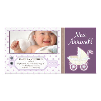 Hospital ID Tag Baby Birth Announcement: purple Customized Photo Card