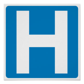 Hospital Zone Highway Sign