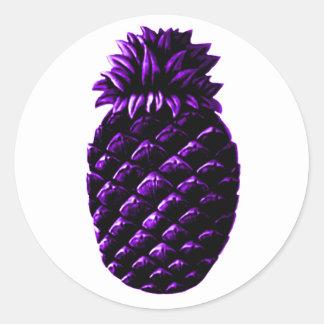 Hospitality Pineapple Purple The MUSEUM Zazzle Gif Classic Round Sticker