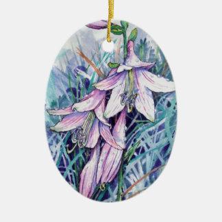 Hosta in bloom ceramic ornament