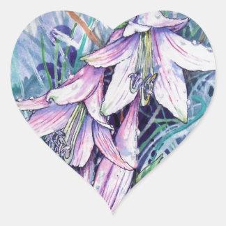 Hosta in bloom heart sticker