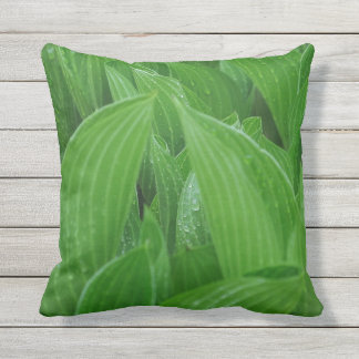 Hosta Leaves with Raindrops Outdoor Pillow