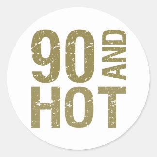 Hot 90th Birthday Round Sticker
