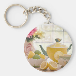 Hot Afternoon Tea with Fresh Lemons Key Ring