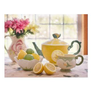 Hot Afternoon Tea with Fresh Lemons Postcard