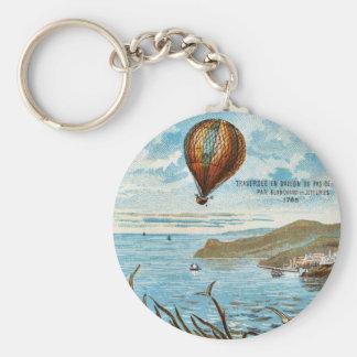 Hot Air Ballon Artwork Basic Round Button Key Ring