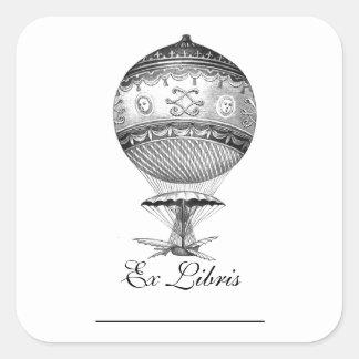 Hot Air Ballon Steampunk Bookplates Square Sticker