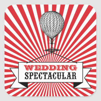 Hot Air Ballon Wedding Spectacular Stickers. Square Sticker