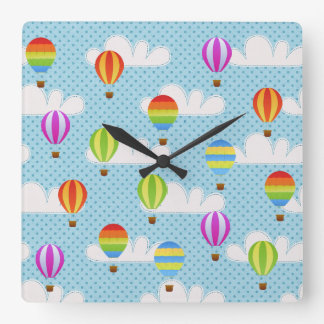 Hot Air Ballons in Cloudy Dotty Sky Square Wall Clock