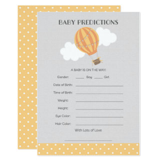 Hot Air Balloon Baby Predictions Card