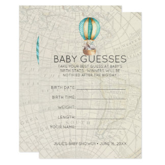 Hot Air Balloon | Baby Shower Guessing Game Card