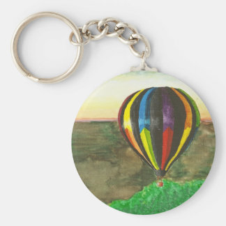 Hot Air Balloon Basic Round Button Key Ring