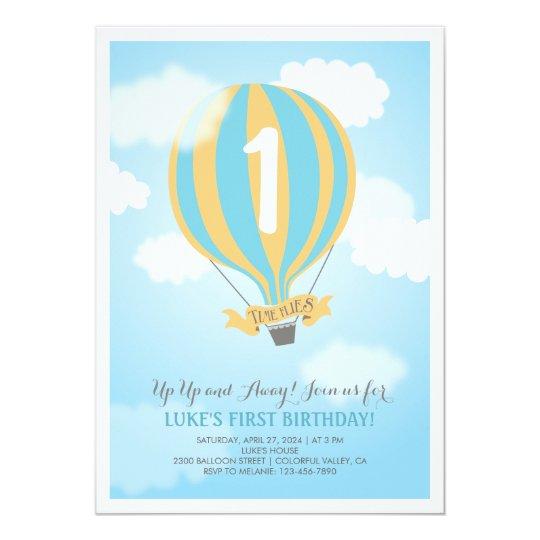 Hot Air Balloon Birthday Baby Boy Party Invite