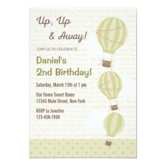 Hot Air Balloon Birthday Invitation (Green)