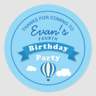 Hot Air Balloon Birthday Party Thank you Sticker