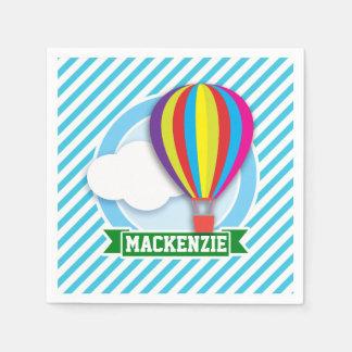 Hot Air Balloon; Blue & White Stripes Disposable Napkin