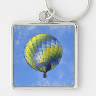 Hot Air Balloon Digital Art Watercolor Silver-Colored Square Key Ring