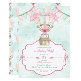 Hot Air Balloon First Birthday Pink Mint Peach 13 Cm X 18 Cm Invitation Card