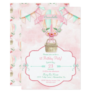 Hot Air Balloon First Birthday Pink Mint Peach Card