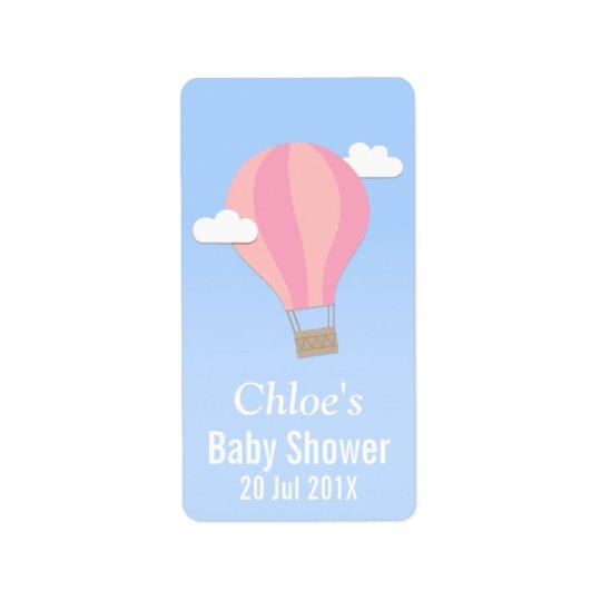 Hot Air Balloon, Girl Baby Shower Address Label