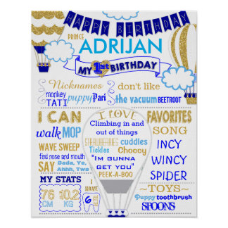 Hot air balloon gold and blue birthday sign poster