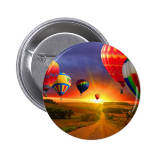 hot air balloon image 6 cm round badge