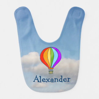 Hot air balloon in blue sky baby bib personalized