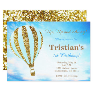 Hot air balloon invitation in blue and gold