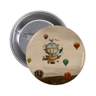 Hot Air Balloon, La Minerve 1803  travel in style 6 Cm Round Badge