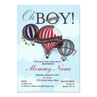 Hot Air Balloon Lil Man Shower Invitation