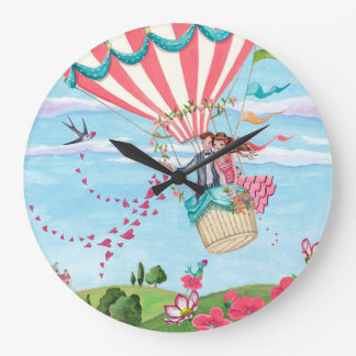 Hot Air Balloon Love   Clock