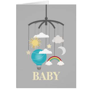 Hot Air Balloon Mobile Baby Shower - Blue Note Card