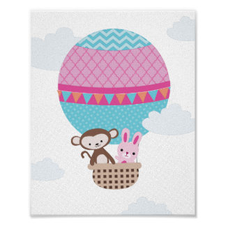 Hot Air Balloon Monkey and Bunny Nursery Art Poster