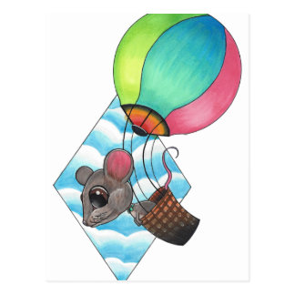 Hot Air Balloon Mouse Postcard