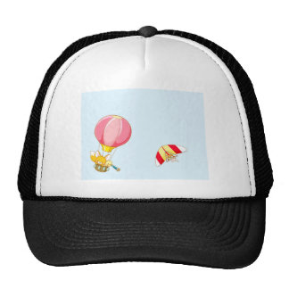 Hot air balloon on pastel blue background. cap
