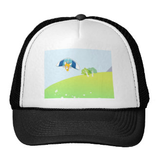 Hot air balloon on pastel green and blue. cap