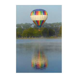 Hot Air Balloon Over River Acrylic Print