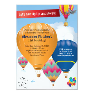 Hot Air Balloon Party Card