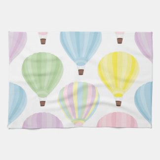 Hot Air Balloon Pastel Pattern Tea Towel