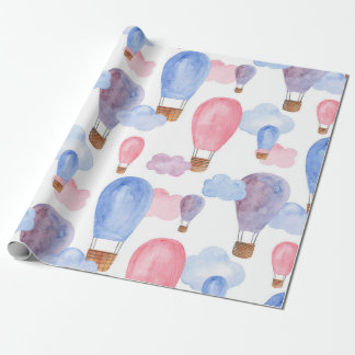 Hot air balloon. Pink and blue pattern. Kids baby Wrapping Paper