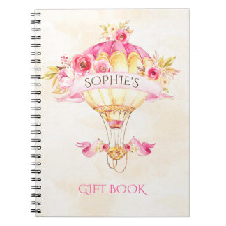 Hot Air Balloon Pink Gold Yellow Roses Gift Notebooks