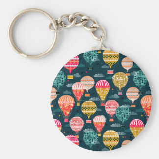 Hot Air Balloon Retro Vintage / Andrea Lauren Basic Round Button Key Ring