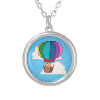 Hot Air Balloon Sloth Silver Plated Necklace