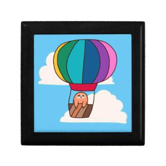Hot Air Balloon Sloth Small Square Gift Box