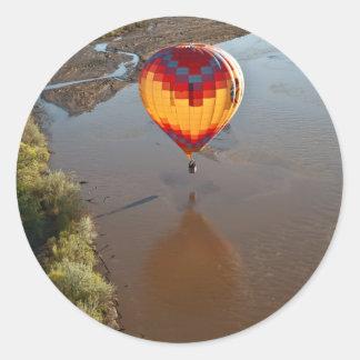 Hot Air Balloon Touching Rio Grande River Classic Round Sticker
