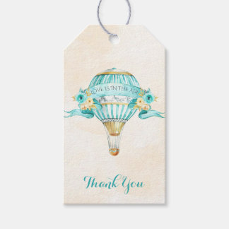 Hot Air Balloon Turquoise Gold Yellow Roses Arrow