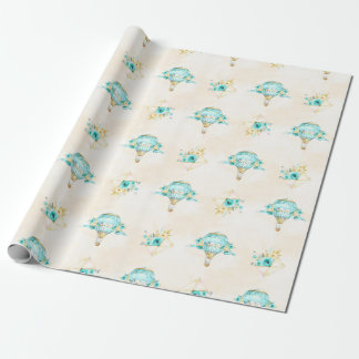 Hot Air Balloon Turquoise Yellow Roses Wrapping Paper