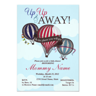 Hot Air Balloon Up Up & Away Shower Invitation