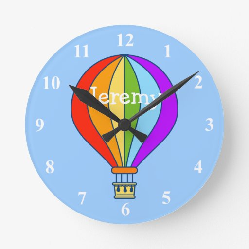 Hot air balloon wall clock for kids room